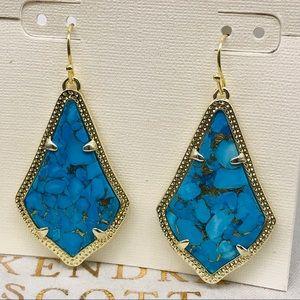 KendraScott Alex Turquoise Bronze G tone earrings
